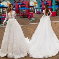 2020 비치 국가 3D Appliqued V 넥 등이없는 긴 소매 웨딩 드레스 플러스 사이즈 라인 웨딩 드레스 신부 드레스 vestido 드 노비