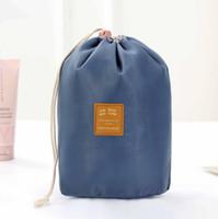 Sac de cosmétique en forme de tonneau 2 pcs Femmes Nylon plaine vierge haute capacité cordon de lavage de lavage