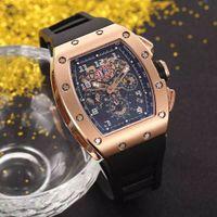 Venta CALIENTE hombre reloj deporte reloj de pulsera superior venta hombre relojes mecánico reloj de pulsera caja de acero inoxidable correa de caucho 032