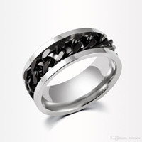 Anelli in acciaio inox anello a catena di spinner anello in oro argento nero catena in acciaio inox all'ingrosso mens gioielli anelli da uomo