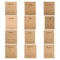 Hot 12 zodiac Necklaces with Gift card constellation sign Pe...