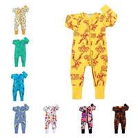 Cartoon Baby-Body für Kleinkind-Jungen-Mädchen-Frucht-Streifen Pullover Infant Newborn Zip Kletter Overall ein Stück Kleidung Overall E21901