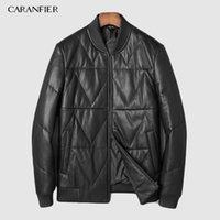 100% vers le bas vestes pour hommes Véritable peau de mouton en cuir Casual Motocycles Noir Manteaux Pardessus Manteau DHL Livraison gratuite