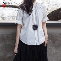 New 2019 Korean Style Women Solid White Unique Top Cotton Bl...