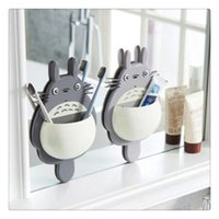 Gifts Decor Toothbrush Holder Wall Mount Holder Cute Totoro Sucker Suction Bathroom Organizer Family Tools Accessories Home