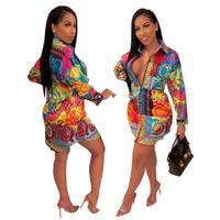 2019 HISIMPLE Loose Women Africano Imprimir Vintage Turn Down Neck manga comprida Mini vestido de camisa de equipamento ocasional Vestidos Vestidos das mulheres S-2XL