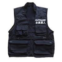 Männer Mantel Ärmel Jacke Lässige chinesische Schriftzeichen Weste Mantel High Street Taschen Westen Fracht Weste Zipper Military-Jacke
