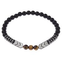 Braccialetto di pietra naturale opaco nero onice perline con filo di tigre occhio freccia ematite pietra bracciale uomini miglior regalo buddha gioielli braccialetto di perline