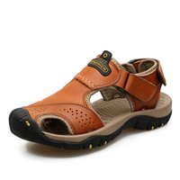 Closed toes Man sandals cow leather men sandals summer outdo...