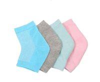 8 colori Mesh gel anti cracking heel Spa Moisturing Socks Silicone Gel Heel Socks piedi cura Cracked Foot Dry Hard Protector pelle Maquiagem