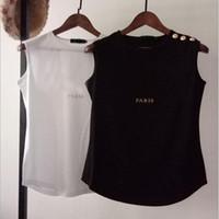 Oro, perlas de 100% algodón de la manera de las mujeres camiseta de moda de la vendimia suave y transpirable Sin verano de la manga camisetas del chaleco de las mujeres ocasionales camisetas Mujer T