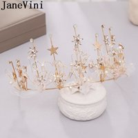 Outros Janevini Sparkly Gold Star Princesa Crown Crystal Hairband Nupcial Tiaras de casamento para noivas Prom Festa Headwear Acessórios
