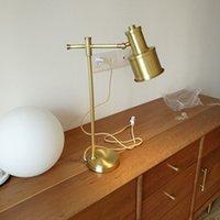 110 V 220V European American Lettura della lampada da tavolo Lampada da tavolo Lampada da tavolo moderna in ottone Rame Nordico Camera da letto Golden Desk Golden Desk
