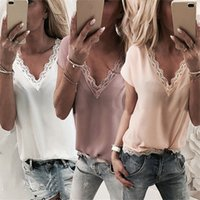 Plus Size Solid Lace V- neck Chiffon Blouses S- 5XL 2019 Women...