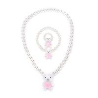 Ensembles de bijoux anneau blanc Bracelets pour enfants Filles Enfants Envoyer Perle Imitation Perles Randomly Ours Rabit Collier