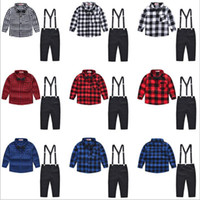Baby Kinder Kleidung Jungen Plaid Anzüge Grid Shirts Overalls Kind Gentleman Kleidung Sets Fashion Boutique T-shirt Hosenträger Hosen Outfits B5064