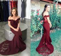 Sexy Bourgogne Perles Paillettes sirène Robes de bal Robes de soirée en dentelle Applique Encolure longueur de plancher élégant Robes formelles