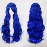 크기 : 조정 가능한 합성 선택 색상 80CM 블랙 블루 레드 금발 다크 브라운 그린 브라운 핑크 패션 긴 곱슬 물결 모양의 코스프레의 가발