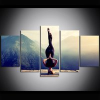 5 Piece Large Size Yoga Cnavas Wall Art Meditation Print Pos...