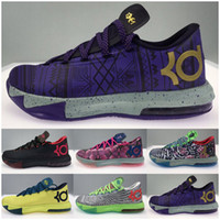 Mens di alta qualità What The KD 6 VI Low Top Outdoor scarpe da basket scarpe da ginnastica zia BHM MVP Blue Gold Kevin Durant KD6