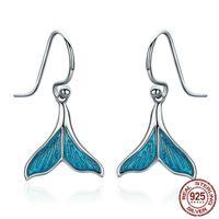 Elegant Kina 925 Sterling Silver Charm Örhängen Animal Ocean Sea Whale's Tail Mermai Hook Örhängen för flickvän Kvinna Alla hjärtans gåvor Smycken Partihandel