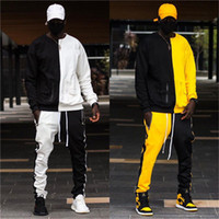 Mens Designer Tracksuits 2 Pieces Pants Hip Hop Panelled Cas...