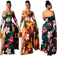 Floral Off épaule Maxi Dress Femmes Sexy Trou Creux Cordon Slash Neck À Manches Longues Haute Split Plage Robe De Soirée Noir Jaune