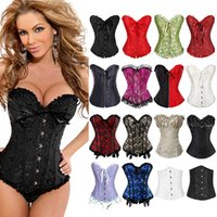 Bone Satin Lace Up Steampunk Corset Sexy Bustier Women Corse...