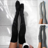 Женская зимняя теплая вязка через колено Высокие колготки чулки Длинные хлопчатобумажные колготки Бедро чулок