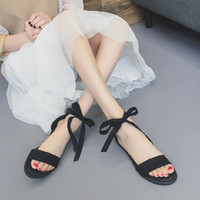 2019 summer new strap flat shoes bow tie women' s sandal...