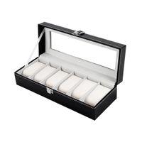 Venta caliente 6 joyería del sostenedor de cuadrícula de la PU del cuero del reloj de pulsera de almacenamiento caja rectangular caja de la pantalla para los regalos LL @ 17