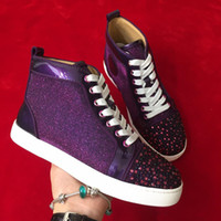2019 high quality purple rhinestone red soles men' s cas...