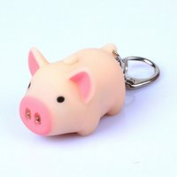 Hot 3 Colors Cute Funny Pig Led Keychains Flashlight Sound C...