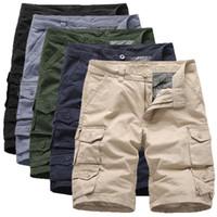 2020 Yaz Yeni Pamuk Erkek Pantolon Pocket Diz Boyu Düz Casual Kargo Şort İçin İşçi Pantolon