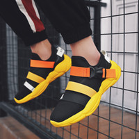 High Quality Male Trend Shoes Black Yellow Buckle Design Spr...
