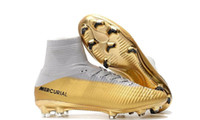 뜨거운 판매 축구 부츠는 100 % 원래 화이트 골드 키즈 축구 의욕 슈퍼 플라이 FG 아동 청소년 축구 클리트 신발