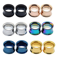 Misturado 6 Cores Ear Flesh Tunnel Plugs Anodizado Rosca Duplo Flared Oco Parafuso Orelha Expansor Calibre Body Piercing Jóias 4mm-30mm