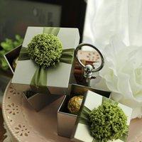 Cajas de regalo de boda Favores de boda Elegent Caja de lata de plata con flores de lavanda Cajas de chocolate y chocolate