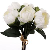 الأبيض الوردي الفاوانيا الزهور رؤساء باقة الزفاف الفاوانيا الاصطناعي ريال اللمس الزهور المنزل الزفاف حزب الديكور الإمدادات