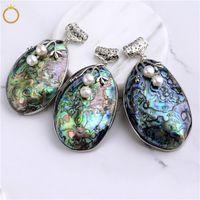 HOPEARL gioielli grande ovale naturale abalone fossili conchiglia Paua shell perline ciondolo per fai da te 6 pezzi