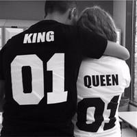 Vente chaude! T-shirts femme O-cou coton Roi Reine 01 Lettre Imprimer Couples Loisirs Homme shirt Valentine T-shirt à manches courtes T-shirt