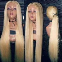 Fantasie Schönheit Gerade 613 Blonde Perücke Vollende 360 Spitze Frontal Human Hairs Perücken Remy Brasilianer mit Babyhaar 180% Glueless gebleichte Knoten