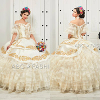 Ruffled Floral Charro Quinceanera Dresses 2020 Off Shoulder ...