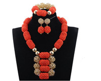 whole saleFantastic Wedding African Coral  Jewelry Set Handmade Party Bridal Statement Necklace Earrings Set CNR723