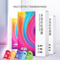 새로운 5PCS 화려한 무지개 페이셜 마스크 세트 5 색 멀티 효과 보습 브라이트닝 수리 얼굴은 얼굴 보호 마스크