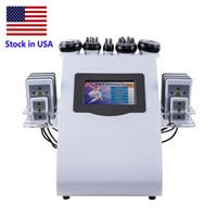 Vorrat in USA Neue Förderung von 6 in 1 Ultraschall-Kavitation Vakuum RF Lipid-Laser Spa Schlankheits-Maschine
