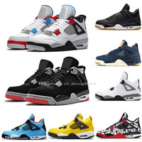 Jungen 2019 Neueste Bred 4 4s Was The Cactus Jack Laser Wings Herren Basketball Schuhe Denim Blau Tattoo Pale Citron Herren Sport Designer Turnschuhe