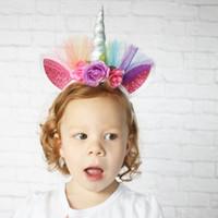 Faroot Adorável Elastic Flor Lace Unicorn Chifre Mantilha Meninas decorativa Headbands Partido Decoração Halloween Costume venda quente 20pcs GA170
