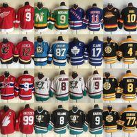Jóvenes Mike Modano Jarome Iginla Sidney Crosby Lanny McDonald Bobby Orr Cam Neely Ray Bourque Wayne Gretzky Wendel Clark Hockey Jerseys