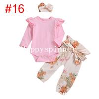 MOQ 1 stücke Baby Kleidung Frühling und Herbst Gedruckt Buchstaben Süße Habe + Hosen + Haarband dreiteilige